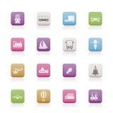 Transporte, recorrido e iconos del envío Imagen de archivo libre de regalías