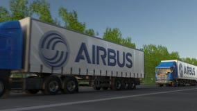 Transporte semi caminhões com o logotipo de Airbus que conduz ao longo da estrada de floresta Rendição 3D editorial Fotos de Stock