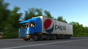 Transporte semi o caminhão com o logotipo de Pepsi que conduz ao longo da estrada de floresta Rendição 3D editorial Fotografia de Stock