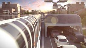 Transporte urbano do futuro Ideia do por do sol animação 3D 4K vídeos de arquivo