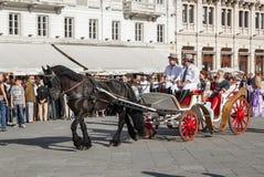 Transporte velho durante uma re-promulgação histórica em Trieste imagem de stock royalty free