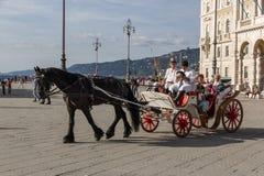 Transporte velho durante uma re-promulgação histórica em Trieste fotos de stock royalty free