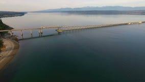 Transporte Washington State de la carretera de Hood Canal Bridge Puget Sound almacen de metraje de vídeo