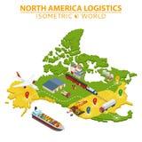 Transporte y logística de los E.E.U.U. Entrega y elementos infographic de envío Imagen de archivo
