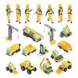 Transporte y trabajadores para los edificios de la construcción Imágenes del vector en estilo isométrico ilustración del vector