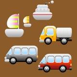Transporten/de pictogrammen van Voertuigen Stock Afbeelding