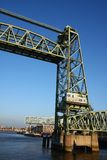 Transporter bridge. In port of Rotterdam with blue sky background, Netherlands stock photography