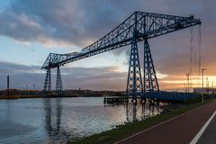 Transporter Bridge, Middlesbrough, UK. Transporter Bridge, crossing the River Tees and connecting Middlesbrough and Port Clarence, England, UK Stock Photos