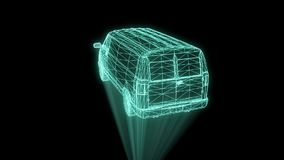 Transporter in Hologram Wireframe. Nice 3D Rendering stock footage