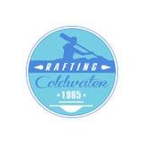 Transporter la conception par radeau bleue d'emblème de Coldwater Photos stock