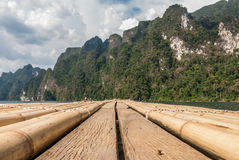 Transporter la vue par radeau chez Khao Sok National Park, Surat Thani, Thaïlande Images libres de droits
