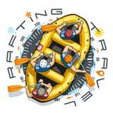 Transporter le bateau par radeau de voyage Photo libre de droits