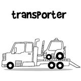Transporter truck with hand draw. Collection stock Stock Image