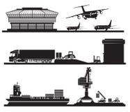 Transportera begreppet, att ladda av behållare i lager, flygplatsen, stock illustrationer