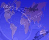 Transportera begreppet med drevet, flygplan och shipen Royaltyfria Foton