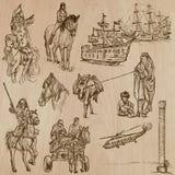 Transportera inget 10 - Packe av hand drog illustrationer Arkivbild