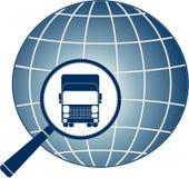Transportera symbolet med lastbilen, förstoringsapparaten och planeten Royaltyfri Foto