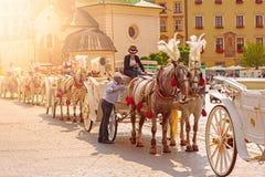 Transportes do cavalo em Krakow fotos de stock