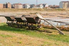 Transportes para o transporte do sal no museu de sal em Pomorie, Bulgária Fotos de Stock Royalty Free