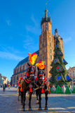 Transportes para turistas de montada no fundo da catedral de Mariacki Imagem de Stock