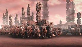 Transportes y arquitectura de la fantasía stock de ilustración