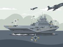Transporteur d'avions militaires illustration de vecteur