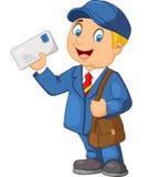 Transporteur de courrier de bande dessinée avec le sac et la lettre illustration de vecteur