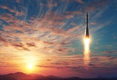 Transporteur Rocket Takes Off On Background de lever de soleil illustration libre de droits
