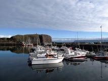 Transportez en bac Baldur dans le lmur de ³ de StykkishÃ, Islande Photos libres de droits