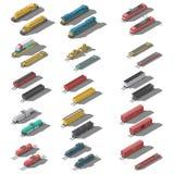 Transportez ensemble isométrique d'icône de wagons et de locomotives de chemin de fer le bas poly Images libres de droits