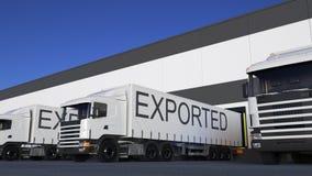 Transportez semi le camion avec la légende EXPORTÉE sur le chargement ou le déchargement de remorque Rendu du transport 3D de car illustration libre de droits