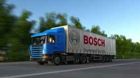 Transportez semi le camion avec le logo Gmbh de Robert Bosch conduisant le long du chemin forestier Rendu 3D éditorial Photographie stock libre de droits