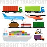 Transportfahrzeuge, Flugzeug und Zug, LKW mit Anhängerschiffs-Vektorillustration Lizenzfreies Stockfoto