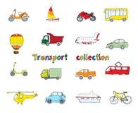Transportgekritzelsatz gefärbt Stockfoto