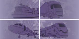 Transportieren Sie Hintergrund mit Flugzeug, Zug, LKW, Zwischenlage lizenzfreie abbildung