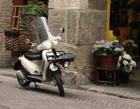 Transportieren von Blumen mit Motorrad Lizenzfreie Stockfotos