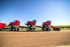 Transportieren von drei neuen roten LKWs Stockbild