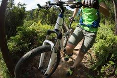 Transportierende Mountainbike des Radfahrers auf Gebirgspfad Stockfotografie