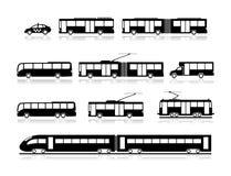 Transportikonen - öffentliche Transportmittel Stockfotografie