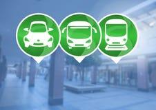 Transportikonen in der Station Lizenzfreies Stockfoto