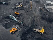 Free Transporting Coal On Yellow Large Dump Truck. Open Pit Mine Industry Top Aerial View Royalty Free Stock Photography - 210781717
