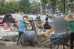 Transporting construction materials of the workers in SHENZHEN Stock Photos