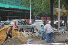 Transporting construction materials of the workers in SHENZHEN Royalty Free Stock Photos