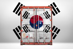 The transporting container with the national flag. The concept of  South Korea export-import, container transporting and national delivery of goods. The vector illustration