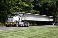 Transporting highway bridge supports Stock Images