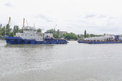 Transporting marine crane parts along the river in Rostov-on-Don Royalty Free Stock Photography