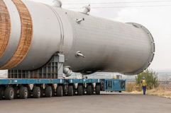Transporting mega installation to refinery Stock Photo
