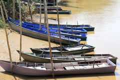 Transporting in sampan. An image of sampans moored to the river side in a tropical rainforest stock image