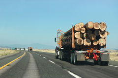 Transporting Wood. Large truck transporting wood on the road Stock Images