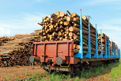 Transporting Wood by Train Stock Photos